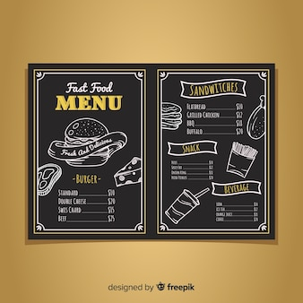 チョークボードスタイルのモダンなレストランメニューテンプレート