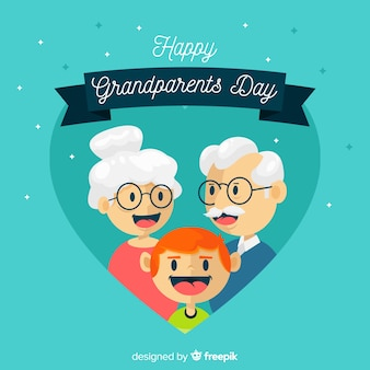 心を持つ祖父母の日の背景