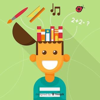 フラットデザインのカラフルな教育コンセプト