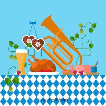 オクトーバーフェストの背景、食べ物と音楽のイラスト
