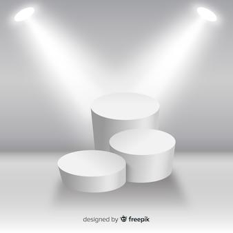 照明付き白い部屋のステージ表彰台の背景