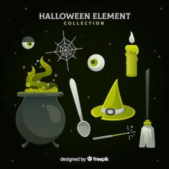 Коллекция элементов хэллоуина в плоском дизайне