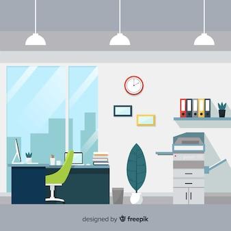 Профессиональный офисный интерьер с плоским дизайном