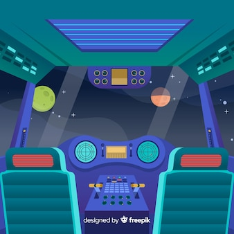 フラットデザインの宇宙船の背景