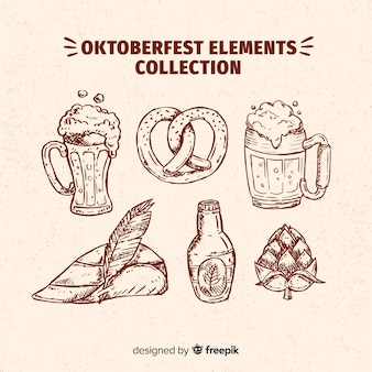手描きのスタイルでオクトーバーフェストの要素コレクション