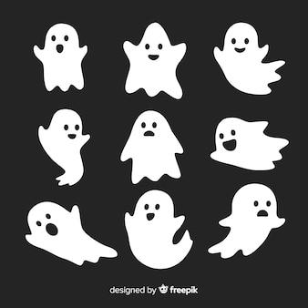 かわいいハロウィーンの幽霊コレクション、様々なポーズ