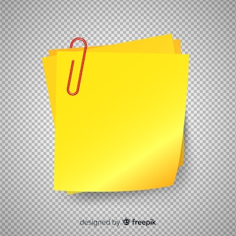 透明な背景に現実的なポストノート