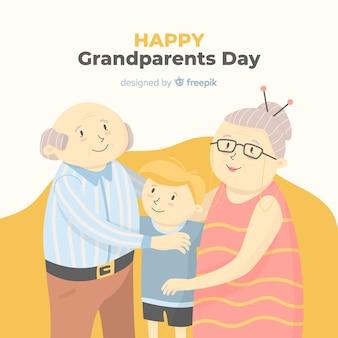 幸せな祖父の日の背景に手描きのスタイル