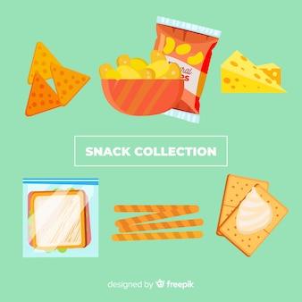 Красочная коллекция закусок с плоской конструкцией