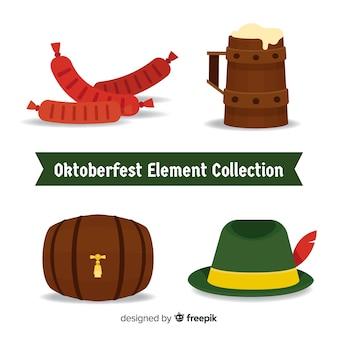 フラットデザインのオクトーバーフェスト要素コレクション