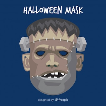 Жуткая маска хэллоуина с плоским дизайном