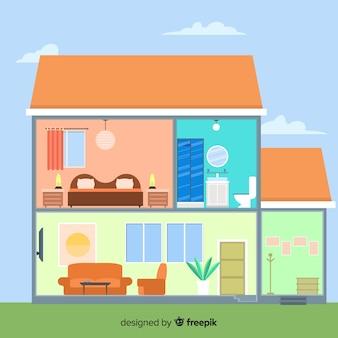 Современный домашний интерьер с плоским дизайном