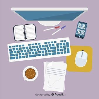フラットデザインのプロフェッショナルなオフィスデスクのトップビュー
