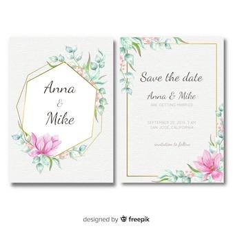 黄金の要素を持つ花結婚式の招待状のテンプレート