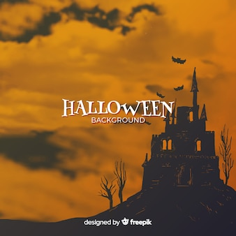 幽霊のある家とハロウィンの背景
