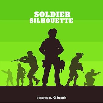 兵士のシルエットと戦争の背景