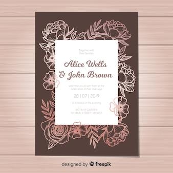 エレガントな結婚式の招待状テンプレート牡丹の花