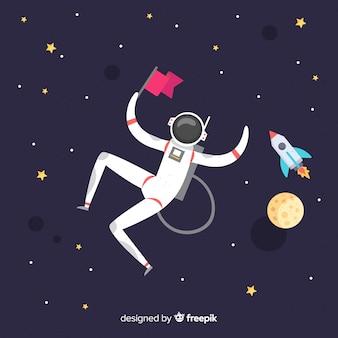 フラットデザインのハッピー宇宙飛行士キャラクター