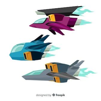 Коллекция футуристического космического корабля с плоским дизайном