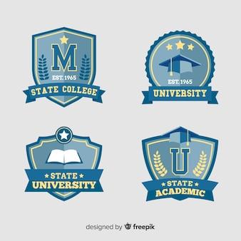 フラットスタイルの大学ロゴのパック