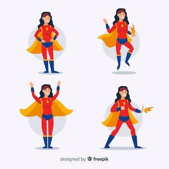 Красочная женская коллекция супергероев с плоским дизайном