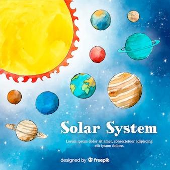 素敵な水彩ソーラーシステムのスキーム