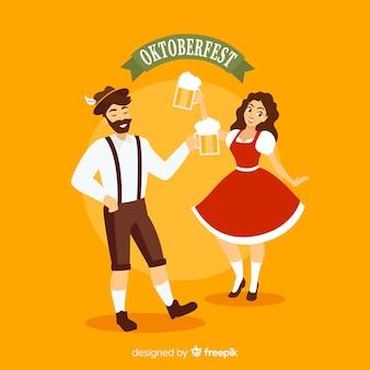 お祝いのカップルとオクトーバーフェストの背景