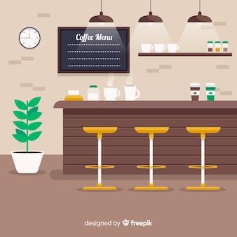 フラットデザインのエレガントなコーヒーショップインテリア