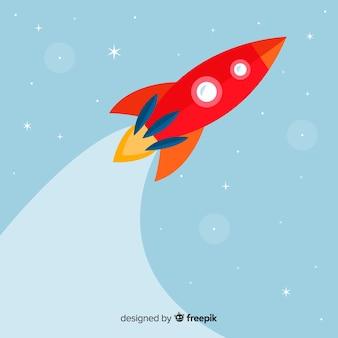 フラットデザインのクラシックロケット