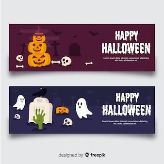 Классические баннеры хэллоуина с плоским дизайном