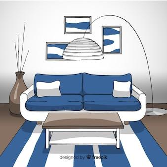 Современная гостиная с ручной вытяжкой