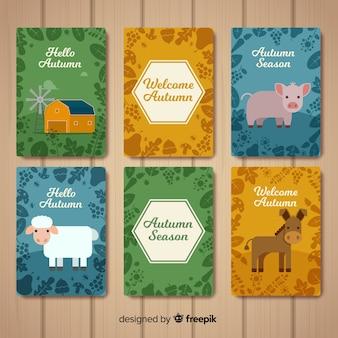 フラットデザインの秋のカラフルなカードコレクション