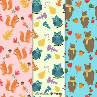 フラットデザインのかわいい動物を使った秋のパターンコレクション