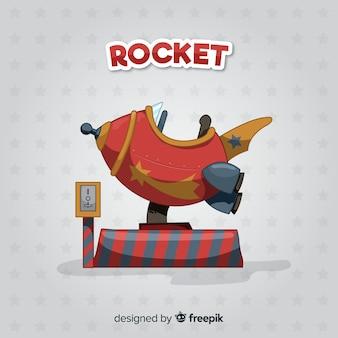 素敵な手描きのスペースロケット