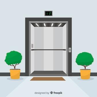 オープンエレベーターのドアおよび植物