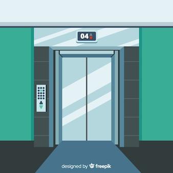 光沢のあるエレベータードア
