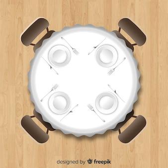 現実的なデザインの空のレストランのテーブルのトップビュー