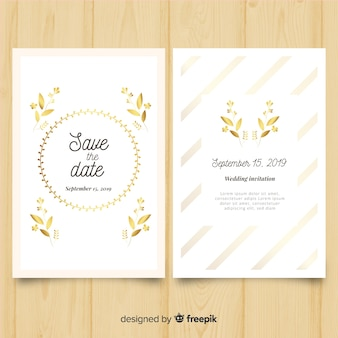 Цветочный шаблон свадебного приглашения с золотыми элементами