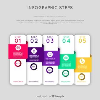 フラットスタイルのインフォグラフィックスステップコンセプト