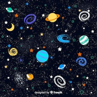 素敵な手描きの銀河の背景