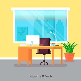 フラットなワークスペースまたはオフィスコンセプト