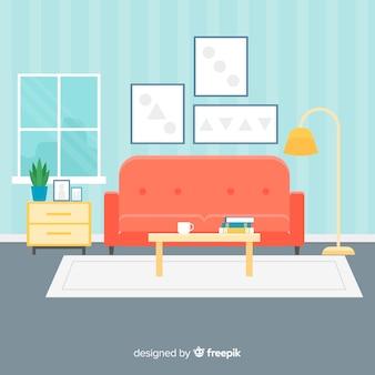 フラットなデザインの居心地の良いモダンなリビングルーム