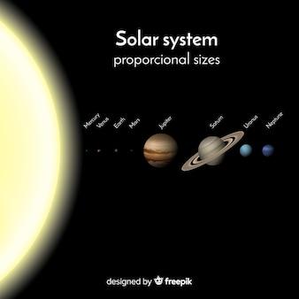 Элегантная схема солнечной системы с реалистичным дизайном