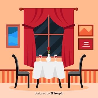 フラットデザインのロマンチックなレストランのインテリア