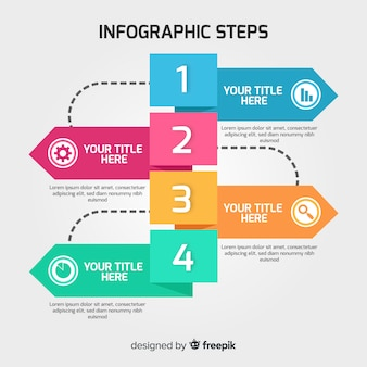 Концепция инфографических шагов в плоском стиле
