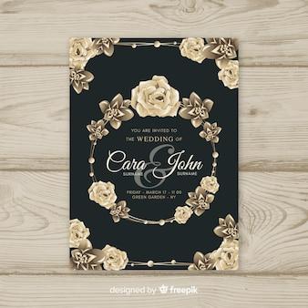 ゴールデンエレメントとエレガントな花の結婚式の招待状のテンプレート