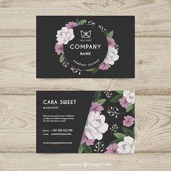 花のスタイルとエレガントな名刺テンプレート