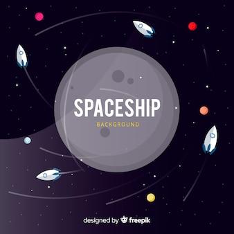 フラットデザインの素敵な宇宙船の背景