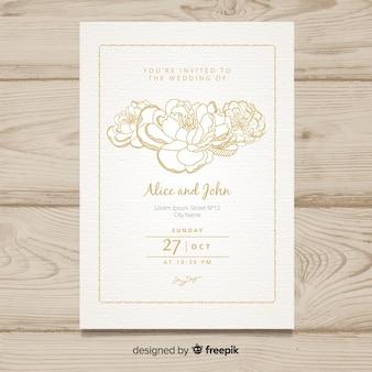 結婚式の招待状テンプレート、牡丹の花