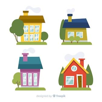 漫画スタイルのカラフルな住宅コレクション